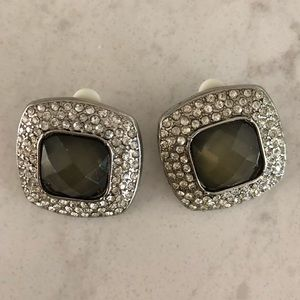 Jewelry - Gray & Rhinestone Oversized Stud Clip-on Earrings